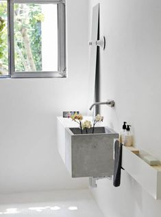 letter bathroom design shelves in a small bathroom gorgeous cement sink ? this bathroom Love these shelves! Bad Inspiration, Bathroom Inspiration, Interior Inspiration, Rustic Bathrooms, Modern Bathroom, Vanity Bathroom, Bathroom Black, Industrial Bathroom, Minimal Bathroom