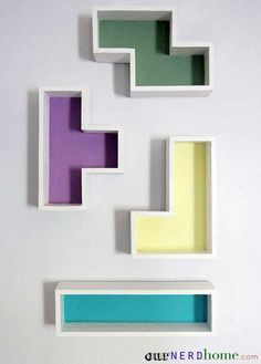 Tetris Shelves. If I have a boy in my future the theme of his nursery will be old school video games.