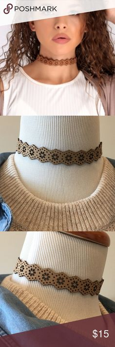 Laser Cut Taupe Choker Brand new Laser Cut Taupe Choker. Adjustable length. Nickel and lead free. Pic 1 for style inspiration only. Bchic Jewelry Necklaces