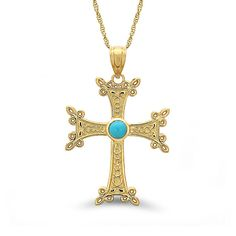 14k solid gold Armenian cross-stone with turquoise on an 18 solid gold chain. cross measures 1 1/4 by 3/4. ** includes 14k solid gold 18 chain **