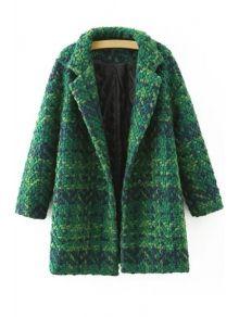 Plaid Pattern Lapel Neck Long Sleeve Coat