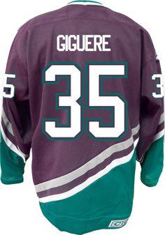 8746880d4 Anaheim Mighty Ducks VINTAGE Jean-Sebastien GIGUERE  35 Official CCM Purple  Thro CoolHockey