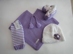 Order now from Babyloveknits.co.nz.    Paypal available. Lilac Poncho, white flower hat, leg warmers and cross over shoes. Flower Hats, Cute Designs, Leg Warmers, Baby Knitting, Merino Wool, Lilac, Clothes, Shoes, Long Scarf
