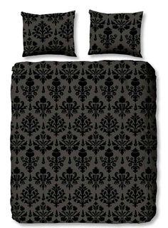 Barok, Retro zwart 3D zwart, grijs dekbed overtrek
