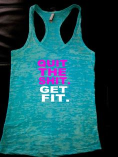 women workout tank/quit the shit get fit on Etsy, $23.00