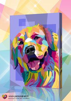 Honden pop art portret van jouw hond, polygoon stijl