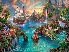 """Ceaco The Disney Collection - Peter Pan Puzzle by Thomas Kinkade Puzzle (750 Piece)  Thomas Kinkade captures the timeless magic of classic Disney stories and their captivating characters through the style of """"narrative panoramas"""". each painting tells the entire story of a Disney film in one image, taking inspiration from art, sketches and other historic documents from the Disney archives. This artwork comes in a 750 piece puzzle by Ceaco featuring Disney characters Peter pan and friends . Deco Disney, Disney Pixar, Disney Love, Disney Characters, Disney Kunst, Arte Disney, Disney Art, Thomas Kinkade Puzzles, Thomas Kinkade Disney"""