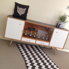 Retro modern sideboard black white living buffet upcycled furniture by ~revolving_attic~ Glass display cabinet. Genuine vintage furniture.