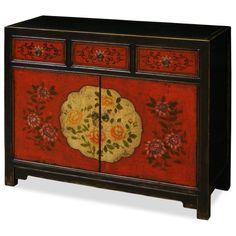 Hand Painted Tibetan Chest - asian - Furniture - China Furniture and Arts Chinese Decor, Chinese Furniture, Pretty Furniture, Hand Painted, China Furniture, Asian Home Decor, Hand Painted Furniture, Asian Furniture, Painted Furniture