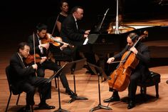 A Beginner's Guide to Classical Music: Chamber Music Society performing at Alice Tully Hall on Tuesday night, April 24, 2012.Image shows From left, Cho-Liang Lin, Richard O'Neill, Jon Kimura Parker and Gary Hoffman performing Brahms' 'Quartet No. 3 in C minor.'