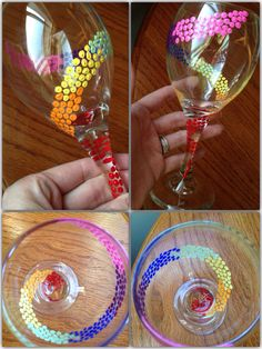 Rainbow swirly dot hand painted wine glass by LessThanThree Designs  www.facebook.com/lessthanthreedesigns