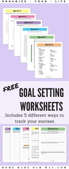 Free Goal Setting Worksheets for a Successful Year Any Time Organize your life with these goal-setting worksheets. This free PDF also includes 5 different trackers to track your success. Goals Printable, Printable Planner, Free Printables, Smart Goals Worksheet, Goal Setting Worksheet, Smart Goal Setting, Setting Goals, Goal Settings, Goal Planning