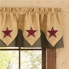 "Country Star Collection by Park Designs combines black, red and cream mini checks and prints in a cotton patchwork pattern accented with an appliqued star. Country Star Lined Point Valance with star accents is fully lined, 100% cotton. Dry Clean for best results and to prevent shrinkage. Size, 72"" wide x 15"" long."