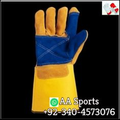 """Long Leather palm Working Welding Gloves  +92 340 4573076 whatsapp & personal NumberEmail=aasports09@gmail.com  ·Made from Shoulder Grade, Split Leather Cowhide ·Cotton Foam Lining ·Single Piece Back to Prevent Premature Wear ·DuPont Kevlar Stitching ·Superior Workmanship ·Reinforced Thumb Crotch ·13.5"""" Overall Length ·Available in Blue; Size Large Welding Gloves, Safety Gloves, Long Gloves, Leather Gloves, Single Piece, Palm, Stitching, Shoulder, Cotton"""