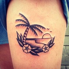 A simple yet unique beach tattoo. This design leans more into the abstract style yet the beach and the palm trees as well as the flowers are still close to detail but overall, the design looks sharp, simple and one of a kind. Tattoo Life, Hawaiianisches Tattoo, Beachy Tattoos, Sunset Tattoos, Tropical Tattoo, Hawaiian Tattoo, Foot Tattoos, New Tattoos, Tatoos