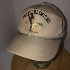 46c0e917fba Details about Vintage DUCKS UNLIMITED 80s Hat Cap Snapback YoungAn Korea  Rope Cord DU Lake