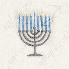 Menorah Applique Embroidery Design DOWNLOAD for DIY projects, from Designed by Geeks. Use any embroidery machine - Brother, Viking, Janome, Bernina, Pfaff, Singer - to stitch this design.  This is an appliqué design of menorah, perfect for Hanukkah. Note: the 4×4 is all embroidery fill, the larger sizes have applique for the candles.