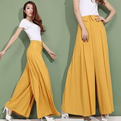 Quality Summer Autumn Women's Fashion Formal Wide Leg Chiffon Yellow Black White Trousers , High Waist Female Casual Loose Dress Pants with free worldwide shipping on AliExpress Mobile Wide Pants Outfit, Summer Pants Outfits, Dress Pants, Formal Trousers Women, Pants For Women, Clothes For Women, Modest Fashion, Fashion Outfits, Womens Fashion