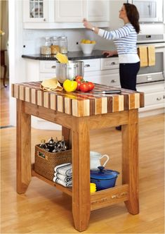 Diy mobile kitchen island plans free work butcher block top portable in mob Butcher Block Island Diy, Decor, Kitchen Cart, Diy Home Decor, Furniture Plans, Butcher Block Kitchen, Diy Kitchen, Diy Kitchen Island, Butcher Block Island Kitchen