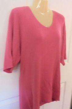 dressbarn Woman 3X  Pullover V-neck Top Salmon Acrylic Knit Short Sleeves…