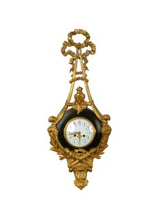 French Louis XVI-Style Gold Plated Wall Clock