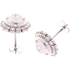 Ted Baker Sully Daisy Stud Earrings - Silver/Crystal ($53) ❤ liked on Polyvore featuring jewelry, earrings, crystal stud earrings, swarovski crystal charms, silver jewellery, swarovski crystal stud earrings and crystal earrings