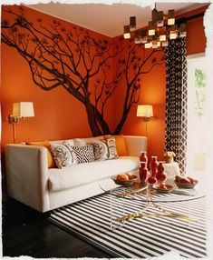 Love this color for the living room/Safari theme. Red/Orange