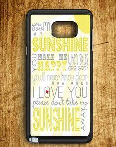 You Are My Sun Shine Lyric Art Samsung Galaxy Note Edge Case