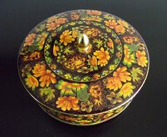 Daher Orange Floral Tin Box with Handled Domed Lid Made in England
