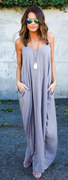 Lavender maxi dress.