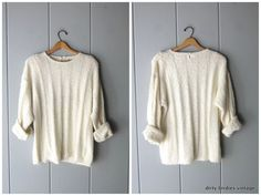 Fuzzy White Knit Sweater 80s Slouchy Soft Pullover Preppy Cozy Knit Womens Large White Knit Sweater, White Sweaters, Vintage Sweaters, Vintage Tops, Pullover Sweaters, Preppy, Cozy Knit, Knitting, Women
