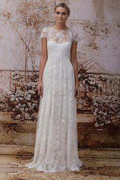 LOVE the intricate lace & varied patterns/textures!  Monique Lhuillier Bridal Fall 2014