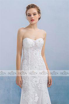 Strapless Lace Applique Illusion Sheath Gown