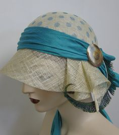 1920's Turquoise Polka Dot Cloche by orsinimedici1951 on Etsy, $138.00