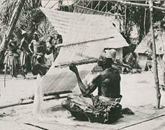 Kuba raffia cloth weaver in the Congo. Photo from Roy Sieber's African Textiles and Decorative Arts, New York, 1972.