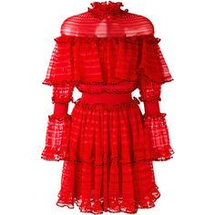 Alexander McQueen A-line mini dress ($4,360) ❤ liked on Polyvore featuring dresses, red, short dresses, red dress, long sleeve a line dress, red ruffle dress and alexander mcqueen dresses