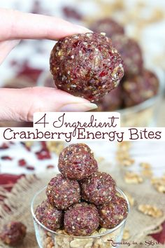 Cranberry Energy Bites- only 4 Ingredients. The best NO Bake Cranberry Walnut Energy Balls with vanilla and date. Great for adults for snacks and for kids - toddler approved! Homemade, Low Carb, Vegan, Whole 30, Gluten Free