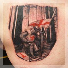 English knight tattoo by Wojciech Taczala