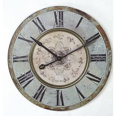 Lend a touch of country-chic style to your kitchen or entryway with this lovely clock, showcasing a weathered finish and floral accent.