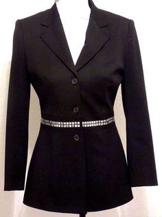 VERTIGO PARIS Made in France Black Fitted Blazer S Silver Studded Belt #VertigoParis #Blazer