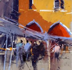 Fish Market, Venice: pastel on sanded paper available at the Jerram Gallery by tony allain
