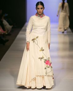 PURVI DOSHI: White Asymmetric Dress with Skirt - $596