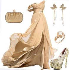 Do u love this? #PromDress #PartyDress #EveningDress #Earrings #Ring #Shoes #Clutch #Fashion #FreshFashion