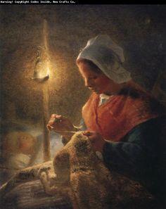Jean Francois Millet Woman sewing by lamplight