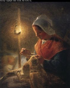 Jean Francois Millet    Woman sewing by lamplight