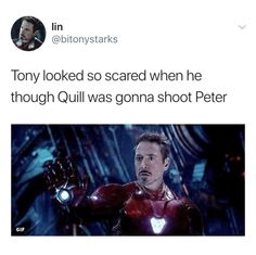 Tony thought Peter would die so many times and then it just happened. He finally died, so heartbreaking. I wasn't really interested in Peter P/Spider Man but seeing his death cause Tony so much pain broke my heart 😟😞 Funny Marvel Memes, Dc Memes, Marvel Jokes, The Avengers, Avengers Memes, Disney Marvel, Marvel Dc Comics, Ms Marvel, Captain Marvel