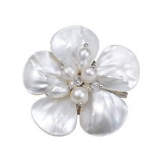 White MOP-Cultured FW Pearl-Fashion Crystals Floral Stainless Steel Pin-Brooch - CC11QWMF1LZ - Brooches & Pins  #jewellrix #Brooches #Pins #jewelry #fashionstyle