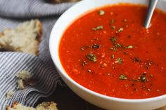 Best Tomato Recipes Recipe: Roasted Tomato Soup — Recipes from The Kitchn - Turn on your oven, toss canned tomatoes in, roast them until they're caramelized and sweet, and you've got the base for a killer tomato soup that will warm you up all fall. Roast Tomato Soup Recipe, Roasted Tomato Soup, Tomato Soup Recipes, Roasted Tomatoes, Tinned Tomatoes, Vegetable Recipes, Lunch Recipes, Easy Dinner Recipes, Cooking Recipes