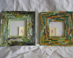 Picture frame, upcycled magazine paper rolls, shades of green shades of yellow and green,(paper) anniversary gift, teachers gift, home decor