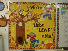 """Scarecrows, owls and leaves, oh my! AIL products: Owl two-sided decoration (CD188019), Fall Leaves Border (T80017), & 4"""" Chocolate Playful Letters (T79745)"""